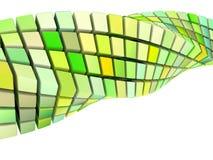 Dimensión de una variable del remolino 3d de la onda en amarillo verde Foto de archivo