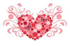 Dimensión de una variable floral del corazón   stock de ilustración