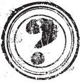 Dimensión de una variable del sello de goma con el signo de interrogación del símbolo Fotos de archivo