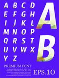 Dimension colorful alphabet set font Low poly artistic color fon Royalty Free Stock Photo