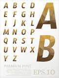 Dimension colorful alphabet set font Low poly artistic color fon Royalty Free Stock Photography