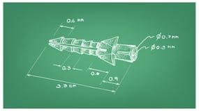 Dimension d'ancre de gaine plastique ou de prise de mur Images stock