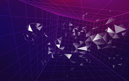 Dimension. 3D wirframe grid in dimension, futuristic backdrop, abstract technology background Stock Image