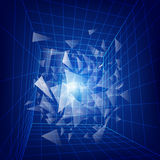 Dimension. 3D wirframe grid in dimension, futuristic backdrop, abstract technology background Stock Photos
