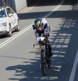 Dimension Data, Pro cycling. APELDOORN, NETHERLANDS-MAY 6 2016: Cyclist of pro cycling team Dimension Data during the Giro d'Italia prologue time trial Royalty Free Stock Images