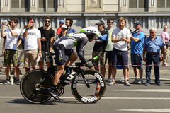 Dimension Data team competitor stands on pedals at Giro 2017, Mi. MILAN, ITALY - MAY 28: last stage of Giro 2017, Dimension Data team competitor stands on pedals stock images