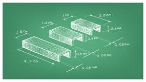 Dimension de bande ou de papier Staples d'agrafe Photographie stock libre de droits
