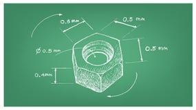 Dimension de la vis d'écrou de sortilège sur le modèle illustration de vecteur