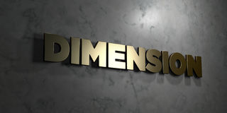 Dimension - Gold text on black background - 3D rendered royalty free stock picture. This image can be used for an online website banner ad or a print postcard Stock Images