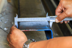 Dimension measuring steel by vernier Stock Image