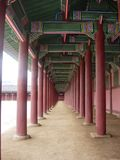 The dimension of the red wooden pole in Gyeongbokgung stock photos
