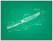 Dimension tirée par la main d'ustensile de Peeler de fruits et légumes illustration libre de droits