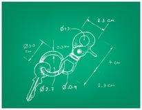 Dimension tirée par la main de Keychain ou de porte-clés illustration stock