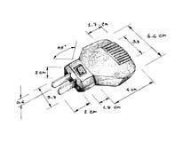 Dimension tirée par la main de prise de puissance ou de prise électrique illustration libre de droits