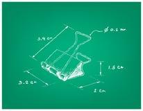 Dimension tirée par la main du trombone d'agrafe de reliure ou illustration de vecteur