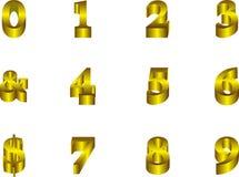 3-dimensionaal gouden cijfers Stock Afbeelding