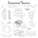15 dimensional banners, hand drawn sketch, unusual shapes Royalty Free Stock Photos
