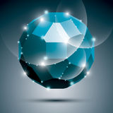 Dimensional blue sparkling disco ball. Vector abstract gala illu Stock Photos