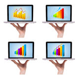 Dimensional Colorful Chart Collection In Laptop 1 Royalty Free Stock Photography