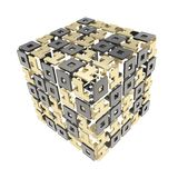 Dimensional cube made of ones and zeros Royalty Free Stock Photo