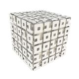 Dimensional cube made of ones and zeros isolated on white Royalty Free Stock Photography