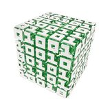 Dimensional cube made of ones and zeros isolated on white Royalty Free Stock Photo