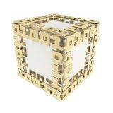 Dimensional cube made of ones and zeros isolated on white Royalty Free Stock Image