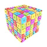 Dimensional cube made of ones and zeros isolated on white Stock Images