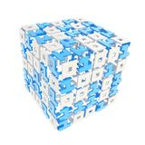 Dimensional cube made of ones and zeros isolated on white Royalty Free Stock Images