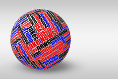 Dimensional 3D ball with fake news tag word cloud. Dimensional 3D ball with colored fake news tag word cloud on light gradient background Stock Photos