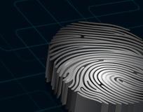 Dimensional fingerprint, standing on dark blue background, 3d rendering. Illustration of Dimensional fingerprint, standing on dark blue background, 3d rendering Royalty Free Stock Image