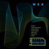 Dimensional flowing stripy ribbon, dark dreamy futuristic background Stock Photos