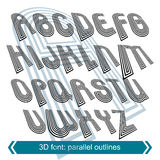 Dimensional font with rotation effect, 3d unusual script Royalty Free Stock Photography