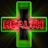 Dimensional green medical cross advertising banner Royalty Free Stock Images