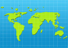 Dimensional green world map Royalty Free Stock Images