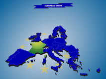 3 dimensional infographics map of European Union countries Royalty Free Stock Photography