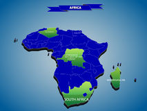 3 dimensional infographics political map of African continent Stock Image