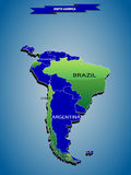 3 dimensional infographics political map of South America Royalty Free Stock Image