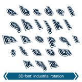 Dimensional move font, vector line retro style geometric font. Stock Photos
