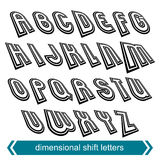 Dimensional move font, vector line retro style geometric font. Stock Image