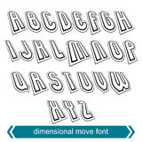 Dimensional move font, vector line retro style geometric font. Stock Photography
