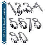 Dimensional numbers with rotation effect, 3d digits. Royalty Free Stock Photos