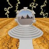 Dimensional portal over pyramids Stock Image