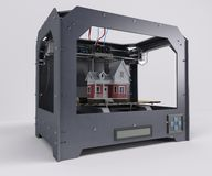 3 Dimensional  Printer. 3D Render of 3 Dimensional  Printer Royalty Free Stock Photo