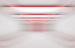 3 dimensional red and white background. Abstract 3 dimensional geometric red and white background. Stripes of lights in empty tunnel interior, 3d render Stock Photography