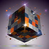 Dimensional twisted shiny cube with lights effect. 3d colorful d Royalty Free Stock Photos