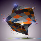 Dimensional twisted shiny cube with lights effect. 3d colorful d Royalty Free Stock Images