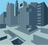 3 dimensional urban cityscape as  illustration.  Royalty Free Stock Photography
