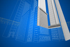 Dimensional wireframe modern building Royalty Free Stock Photo