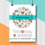Dimensione dei modelli A4 del manifesto di seminario di affari, linea icone di arte illustrazione di stock
